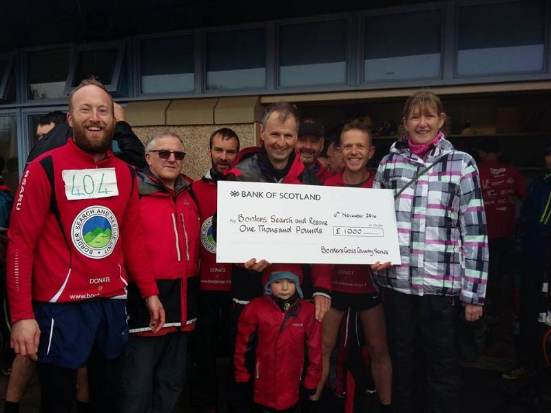 Borders X-Country League present a cheque for £1000 to BSARU